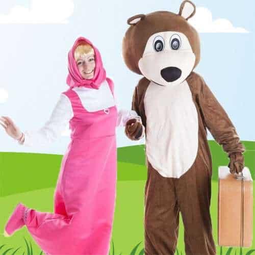 Animatrice per bambini e mascotte per festa di compleanno a tema Masha e Orso