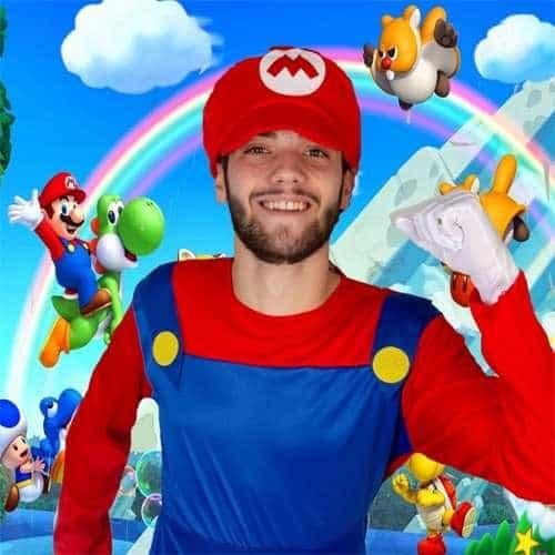Animatore per bambini in festa di compleanno a tema Super Mario
